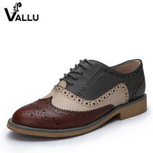 2017 Genuine Leather Shoes Women Brogues Oxfords Flat Heels Round Toe Handmade Women Casual Shoes Plus Size 42