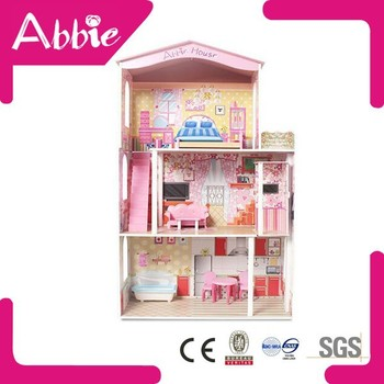 Plastic Mini Doll Furniture Wooden DIY Doll House, Toy Model House