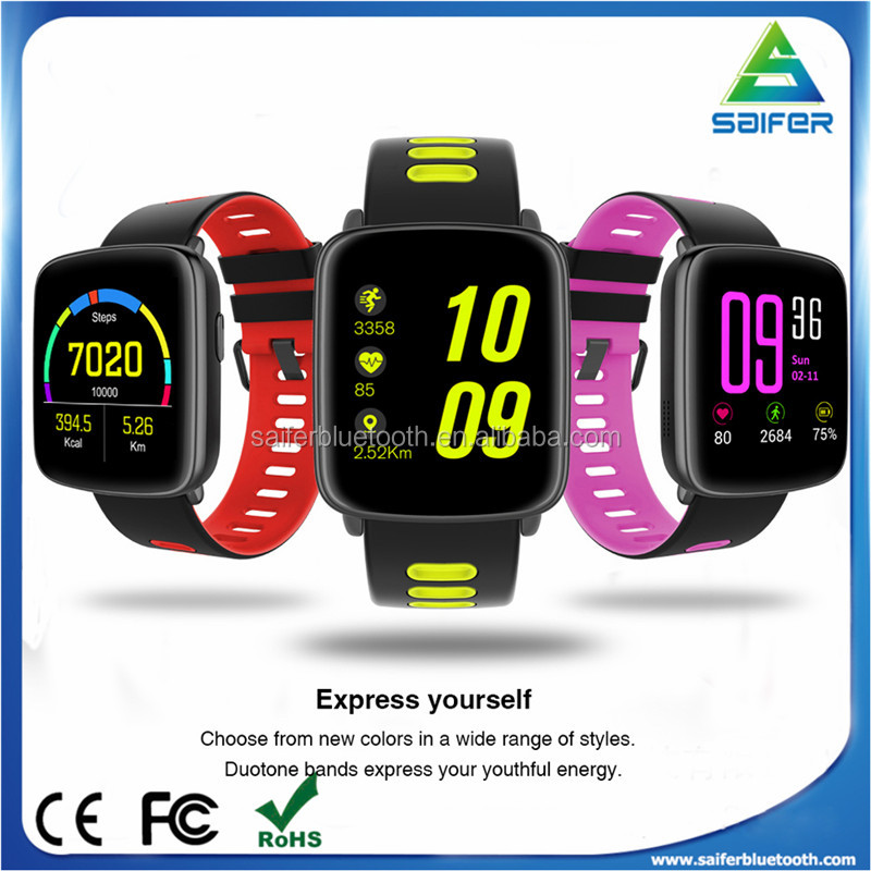 2017 latest fashion ip68 waterpoof bluetooth 4.0 fitness health smart watch with heart rate monitor and water clock for gifts