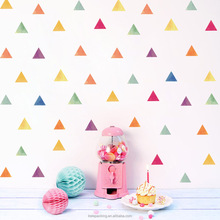 54pcs/set Birthday Party Decor Removable Wall Stickers Colorful Triangle Shaped Adhesive Decor Wall Mirror Sticker