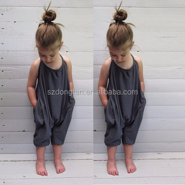 2017 Fashion Baby Girls Strap Cotton Romper Jumpsuit Harem Trousers Summer Clothes For Children