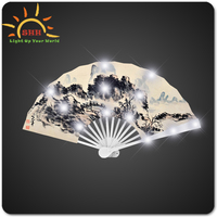 Multi-Color Summer Style Folding Hand Fan with bird, mountain, and flower picture for promotion gifts