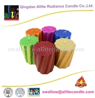 wholesale metallic painting and glitter paraffin wax church pillar candle