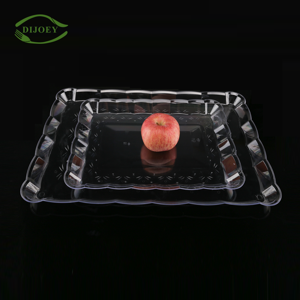Gold supplier square fruit nuts large cafeteria biodegradable vegetable meat disposable food plastic serving tray