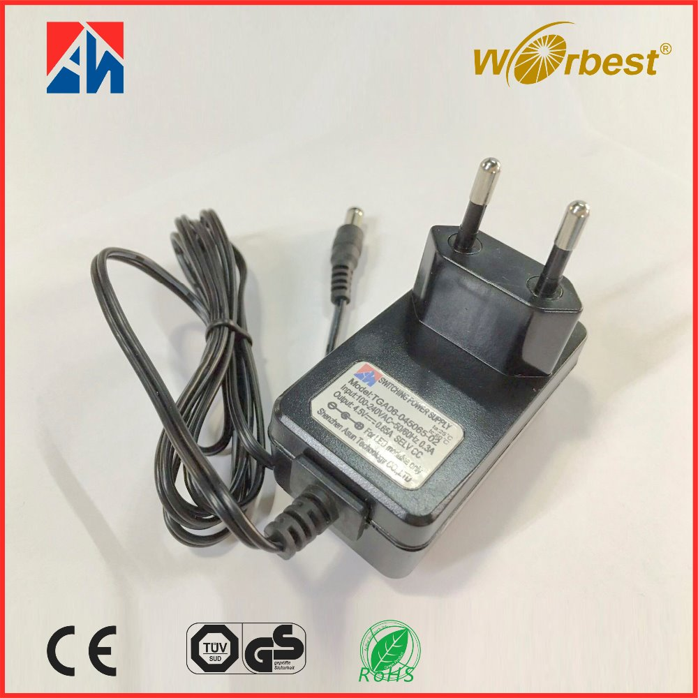 Worbest Shenzhen 4.5V 0.65A power supply changer manufacturer in China 100-240V AC-DC with CE GS ERP ROSH manufacturer in China