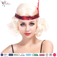 sexy woman short synthetic fibre curly hair wig with tiara feather and headband halloween blonde wig