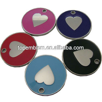 Enamel dog heart metal pet tags