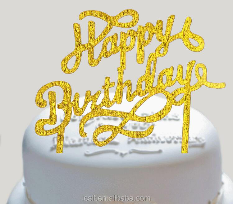 wholesale 2017 new happy birthday acrylic cake topper