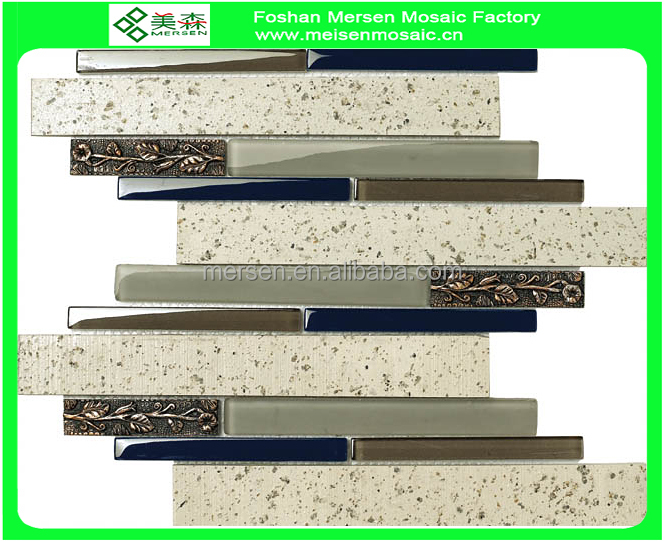 Glossy glass mosaic tile strip for kitchen SJ510
