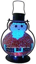Snowman Mosaic Hurricane Glass Lantern For Christmas