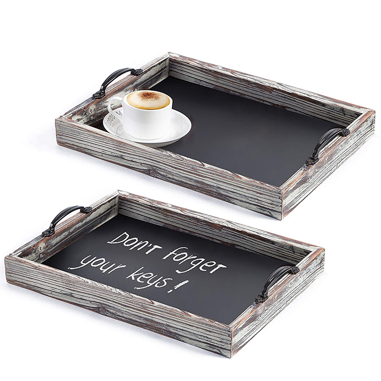 Rustic Style Wood Chalkboard Surface Nesting wood serving tray
