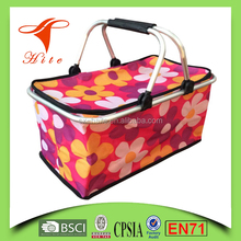 Pink Foldable Insulated Cooler Picnic Basket with Double Handles/ice cooler bag