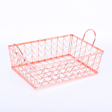 rose golden plated handle metal wire storage basket