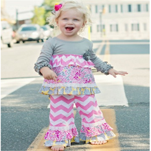 baby boutique chevron outfits Halloween dress kids girl pink with gary chevron sets kids cotton ruffle dress