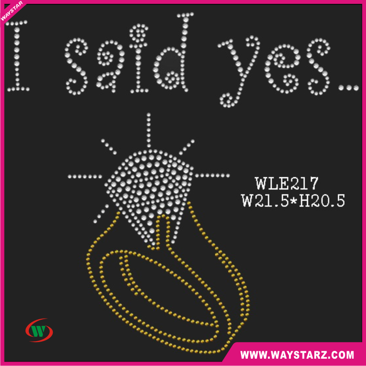 <strong>Crystal</strong> I Said Yes With Ring Design Hot Fix Rhinestones Transfer For T shirt