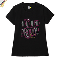 Loud & Proud Hotfix Shining Rhinestone T Shirt Wholesale