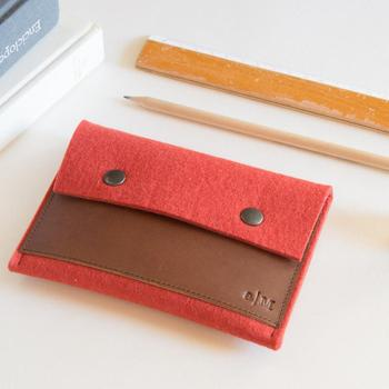 Amazon hot Selling Business card holder Christmas gift button closure felt card holder with leather