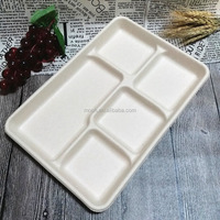 Biodegradable Bamboo Pulp 5 Compartment Tray,Disposable Tableware