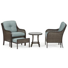 Nichols blue rattan lounge chair with pull out ottomans living accents outdoor furniture