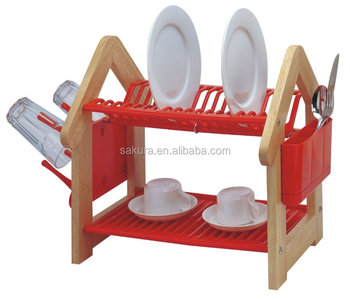 PLASTIC DISH RACK&wooden kitchen dish rack&two tiers dish rack
