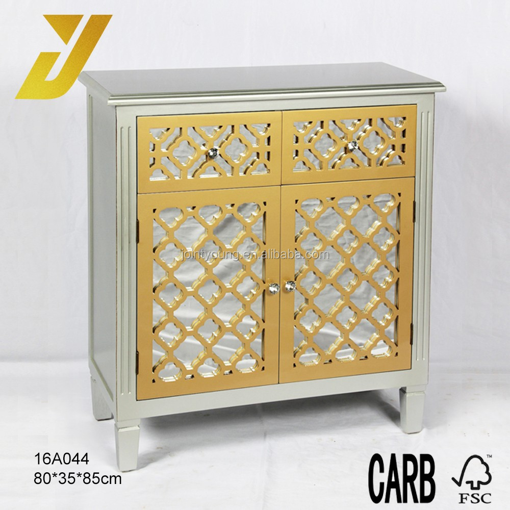 2016 2 glass drawers and 2 door Hollow design cabinet for living room