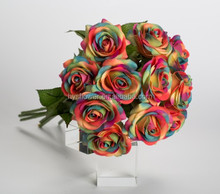 real touch small rainbow rose man-made artificial wedding rose flower