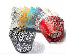 12 set Filigree Artistic Bake Little Vine Lace Laser Cut Cupcake Wrapper Cup Muffin Case Trays Collars Wrappers