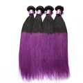 High grade ombre color hair bundles wholesale price color 1b/purple 100 real virgin indian hair weaving