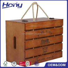 New Promotional Balsa Wooden Presentation Wine Gift Crate Holder Case with Custom Logo for 6 Packs