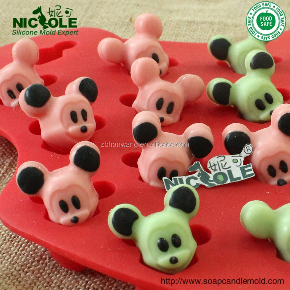 B0201 Cartoon Mickey Mouse in 16 cavity silicone cake tool chocolate mold