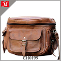 Vintage Look Small Size Leather Camera Bag DSLR Padded Camera Bag With Lens Partition