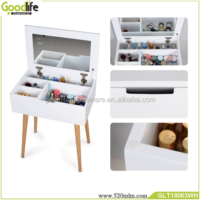 New arrival white color simple dressing table designs with mirror