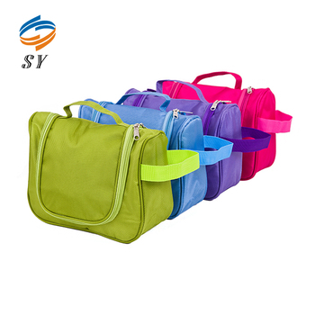 Colorful hanging travel toilet cosmetic bag with net compartments