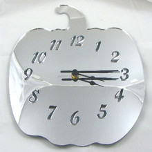 Manufacture custom acrylic mirror wall clock unique apple shape clock for sale