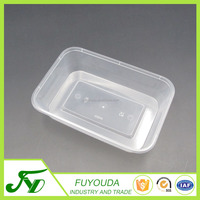 Disposable 500ml white plastic food container with lid