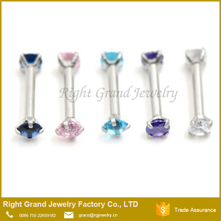 Unique Surgical Steel Double Side Internally Threaded Round CZ Ear Tragus Cartilage