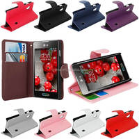 BLACK SIDE FLIP PU LEATHER CASE COVER FOR LG OPTIMUS L5 II E460