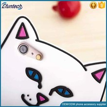 Bulk wholsale phone accessory funny cat shape silicone mobile phone case for iphone 6s