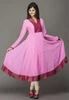 Pink faux georgette readymade long kurta 2013