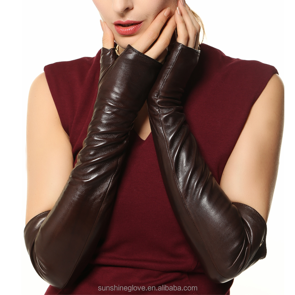 opera party elbow length long leather gloves
