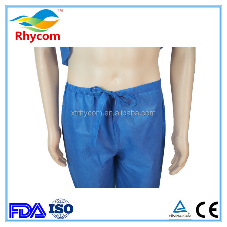 BLUE SMS non woven disposable surgical nurse scrub suit