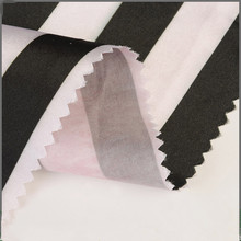 Popular twill black and white printed 100 polyester satin stripe fabric
