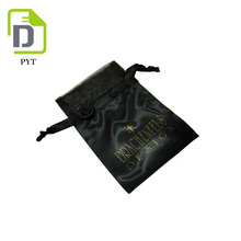 Black customized design watch satin pouch with gold logo printing