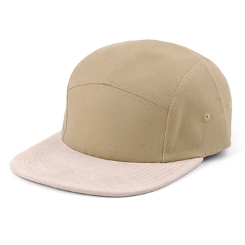 Blank Oem 5 Panel Camper Hat/leather strap 5 Panel Plain Hat