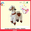 Mechanical horse with white fur for kids/cheap outdoor mini riding pony
