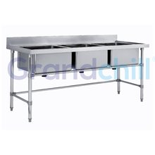 Commercial Heavy Duty 3 Bowls Stainless Steel Kitchen Sink