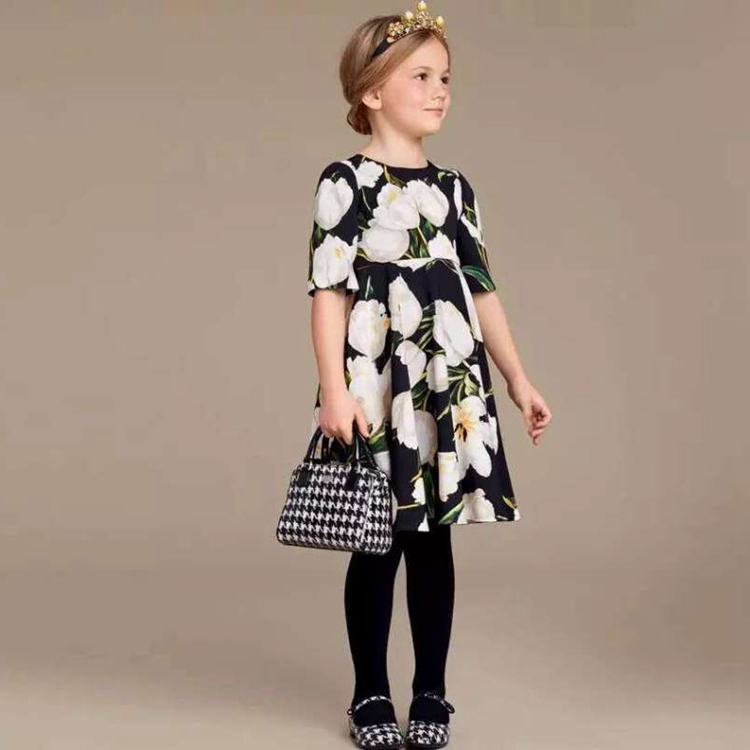 Tulip Print Cotton Pleated Deep Color Princess Dress with Back Zipper