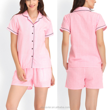 Pink checked night short sleeves women sleepwear pajama
