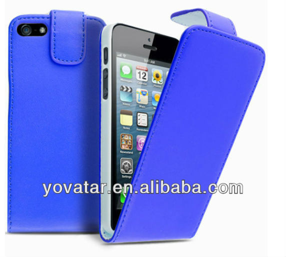 High quality for iphone5C 5S blue flat leather cover case