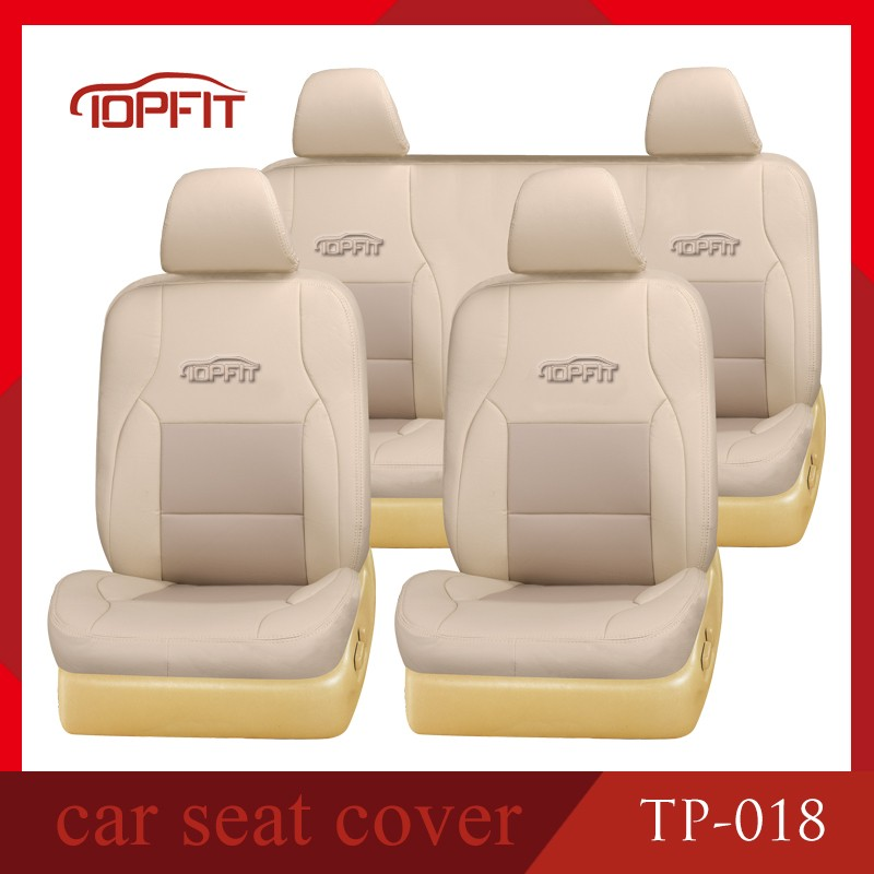 Faux Light Beige Dark Beige Leather Car Seat Cover Waterpfoof For Jordan, Yemen, Saudi Arabia Cars